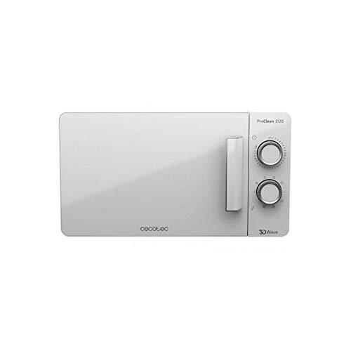 Cecotec ProClean 3120. Weiße Mikrowelle mit Grill und Ready2Clean Beschichtung für eine bessere Reinigung. 3DWAVE Technik, 20 L Elegantes Design mit FullWhite Tür und Metalldetails 6 Ebenen.