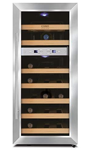 Design Weinkühlschrank mit zwei Temperaturzonen für Rotwein & Weißwein, Temperaturbereich von 7°C – 18°C, laufruhige elektronische Kühlung – CASO WineDuett 21