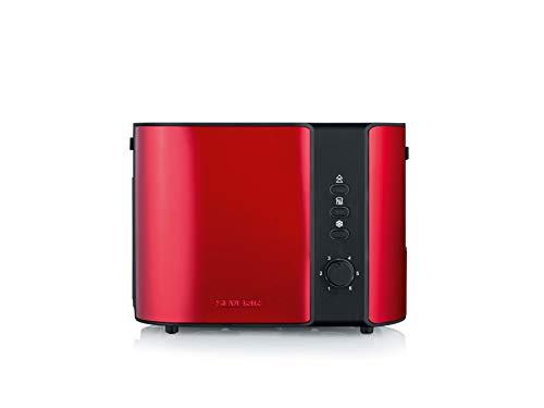 SEVERIN AT 2217 Automatik-Toaster ca. 800 W, Für 2 Scheiben, Integrierter Brötchen-Röstaufsatz fire red metallic /schwarz