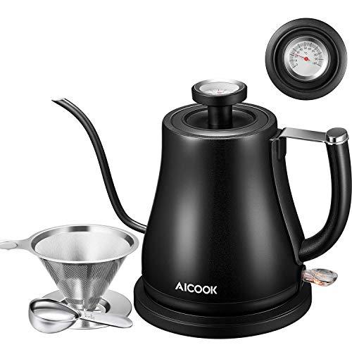 Aicook Elektrisch Wasserkocher Schwanenhals, Edelstahl Kaffeekessel mit Thermometer, Kaffeekanne Kaffeebereiter für Kaffee, Tee & Espresso, Automatisch Abschaltung, 1000W