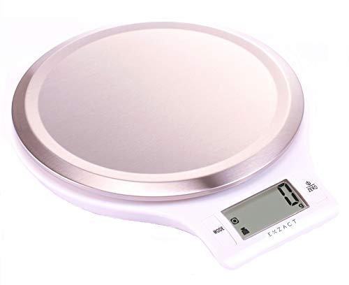 5kg/11lb EX3211 Weiß – Exzact EX3211 Elektronische Küchenwaage – Plattform mit fingerabdruckabweisender Oberfläche aus rostfreiem Stahl