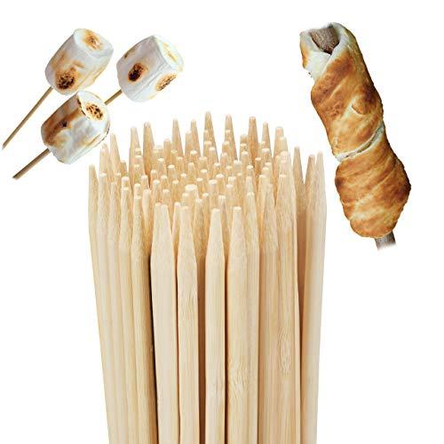 Relaxdays 10023273 Bambus, 100er Set, für Marshmallows u. Stockbrot, Lagerfeuer, universal, 90 cm lang, natur Grillspieße