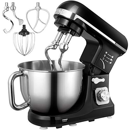 Küchenmaschine, Aicok 5L Geräuschlos Knetmaschine mit Doppelten Knethaken, Rührbesen, Knethaken, Schlagbesen, Spritzschutz, 6 Geschwindigkeit mit Edelstahlschüssel Teigmaschin