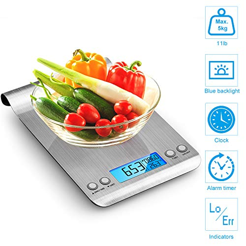 himaly Digitale Küchenwaage Edelstahl, Digitalwaage Briefwaage mit Tara-Funktion5kg/1g, großem LCD-Display, Auto-Off, elektronische Waage für Nahrungsmittel, Backen, Kochen5kg/1g