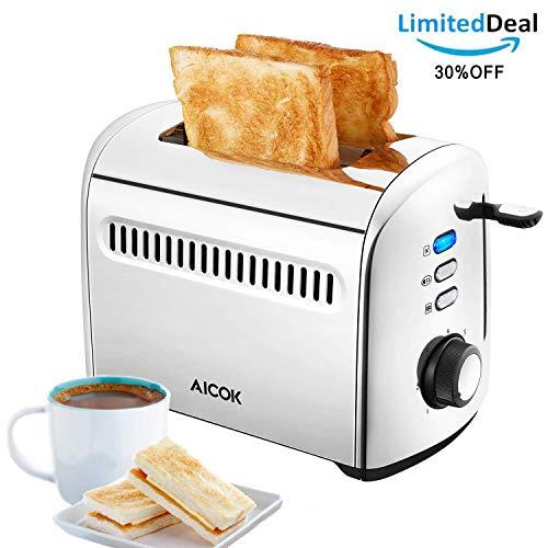 Aicok Toaster 2 Scheiben Kleine toaster Edelstahl, Extra Breiter Schlitz 4cm, 7 Bräunungsstufen, Auftau- und Aufknusperfunktion, Herausnehmbare Krümelschublade, 950W
