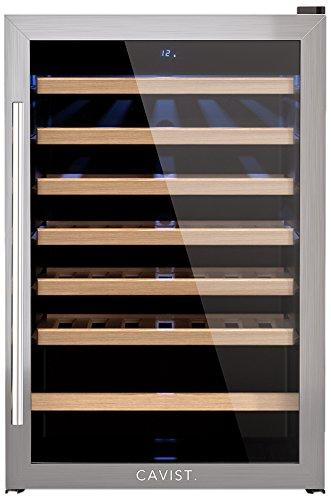 CAVIST CAVIST48 Weinkühlschrank / 48 Flaschen / 130L Kapazität / 6 Regale aus Holz /  4°C bis 18°C / LED Anzeige / silber