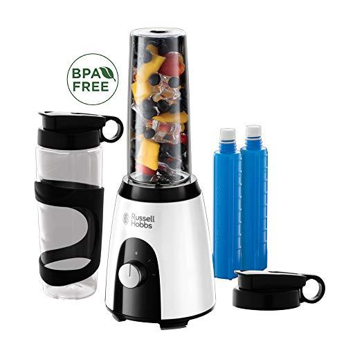 Russell Hobbs 25161-56 Mixer & Go Standmixer 400 Watt, 23.000 U/min, inkl. Kühlakkus, 2 BPA-freie und spülmaschinenfeste Tritan-Behälter 600ml, Ice-Crush, Profi Smoothie Maker, Horizon Boost