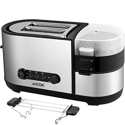 Aicok Edelstahl Toaster 5 in 1 Multifunktions-Toaster mit Eierkocher, Mini-Pfanne, Dampfgarer, 2 extra große Schlitze, mit brötchenaufsatz, 7 Bräunungsstufen, BPA-frei, 1250 W