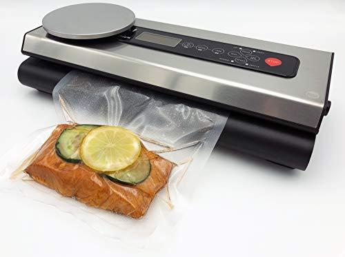 inklusive Folienbeutel-Set und Schlauch – Vakuumierer für Lebensmittel VacuNo.1 – Sous Vide – VACU Premium mit integrierter digitaler Küchenwaage – Vakuumiergerät
