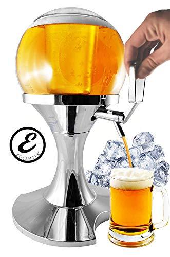 EGLEMTEK Spender mit Spender Birra und Getränkekühler in Form von Bolla Sferico mit Eisfach Fassungsvermögen 3,5 Liter – Ausgießer Birra und andere Getränke 28 x 28 x 24 cm