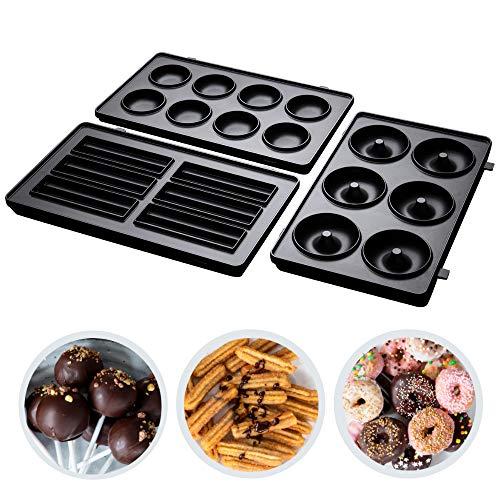 Russell Hobbs 3er Zusatzplatten-Sets Fiesta Cake Pop, Mini Donut und Churros für Multifunktionsgerät, spülmaschinengeeignete & antihaftbeschichtete Platten, 25490-56