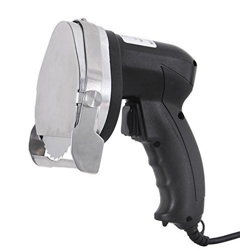 Saro ED 100 elektrisches Profi Schneidemesser für Döner und Gyros 2 Edelstahlklingen, einstellbare Schnittstärke, ergonomisch, beidhändig einsetzbar, Gastronomiebedarf, Imbiss, schwarz