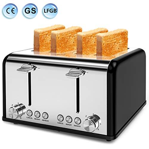 """Toaster 4 Scheiben, Morpilot Edelstahl Toaster 1600 Watt mit 1,5"""" breiten Schlitzen, 6 bräunungsstufen und 3 Moden Auftau-, Aufwärm- sowie Abschaltungsmode SCHWARZ"""