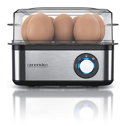 Eierkocher Edelstahl für 1 bis 8 Eier – Egg Cooker – Kontroll Leuchte – Drehregler für DREI Härtegrade – Edelstahl gebürstet – spülmaschinengeeignet – Arendo – 500 W