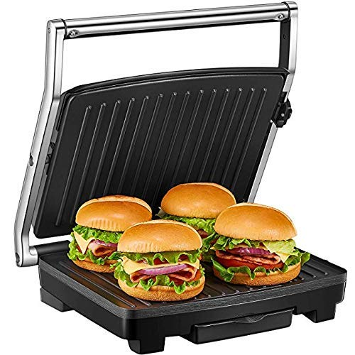 Deik Sandwichmaker, 4-Scheiben SandwichtoasterWaffeleisen, Kontaktgrill2000W, Sandwich-Maker mit Temperaturregelung, mit antihaftbeschichteten Platten und herausnehmbarer Auffangschale