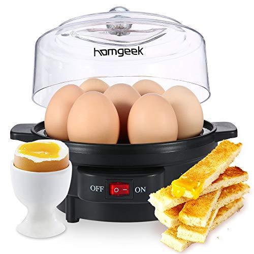 homgeek Eierkocher, Edelstahl mit Warmhaltefunktion, für 1-7 Eier, 350W, Kipp-Funktionsschalter mit Indikationsleuchte