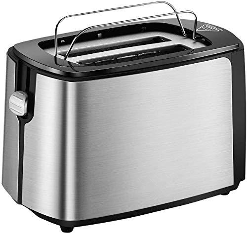 Toaster 2 Scheiben integrierter Brötchenaufsatz, Automatik-Toaster 6 Bräunungsstufen,Brotzentrierung, Krümelschublade, Auftau, Aufwärm Stopp Funktion, schwarz