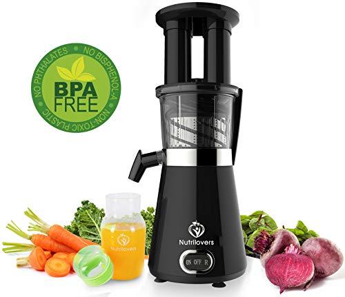 NUTRI-PRESS Slow Juicer Entsafter mit 2 Einfüllöffnungen | Elektrische Obst & Gemüse Saftpresse | BPA-Frei | Geringe Drehzahl nur 60 U/min | Glas-Trinkflasche & Reinigungsbürste