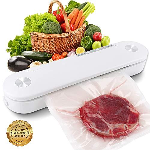 SAMEBOO Vakuumierer,Folienschweißgerät für Trockene Feuchte Lebensmittel Beiben Mini Automatische Vakuumiergerät vakuumiert bis zu 7 x Länger Frisch Küche mit 10 Pcs Folienbeutel/Vakuumierbeutel