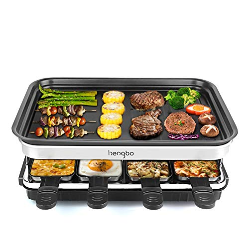 Raclette Grill für 8 Personen, 8 Mini Raclette Pfännchen zum Kochen von Käse und Beilagen & Ein Holzspatel Raclette, Flexibler Temperaturregelung,Große Quadratische Antihaft-Kochfläche – 1500W