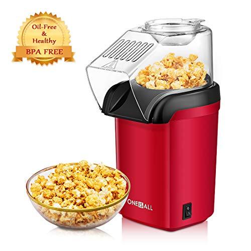 Popcornmaschine, Oneisall 1200W Schnelle Popcorn Maker, Heißluft Ölfrei Popcorn Maker, Breite Öffnung, inklusive Messbecher und Abnehmbarer Deckel, GS-zugelassen