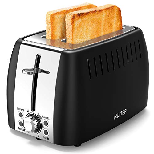 Toaster, MLITER Edelstahl Toaster, 2 Extra Breite Toastschlitze und 6 einstellbare Bräunungsstufe 875W Toaster mit Auftauen, Aufwärmen und Abbrechen Funktionen, Krümelschublade