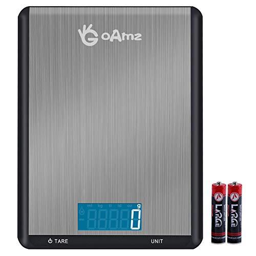 GOAMZ Digitale Küchenwaage 10kg/1g Digitalwaage Professionelle Waage Electronische Waage, Haushaltswaage mit 7 Wiegeeinheiten, LCD Display, Auto-OffBatterien enthalten