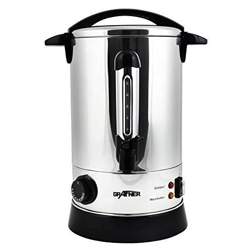 Grafner XL Glühweinkocher aus Edelstahl – 1500 Watt mit Zapfhahn, Thermostat und Überhitzungsschutz Heißgetränkespender – 8,8 Liter