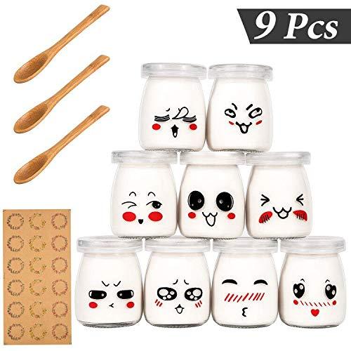 Yangbaga Joghurtgläser 9 Gläser mit Deckel, Gläser für Vorspeisen und Desserts, ideal zum Anrichten und Präsentieren von Speisen, 100ml