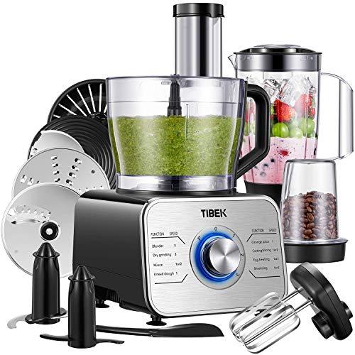 Tibek Küchenmaschine 1100W, 3 Geschwindigkeiten Plus Pulsfunktion inkl Standmixer, Knethaken, Zitrusspresse und Mühle Silber/Schwarz