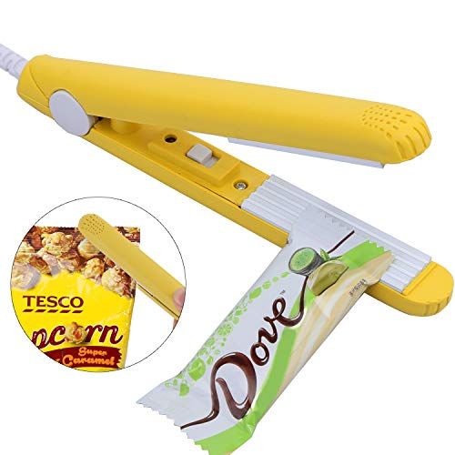 Karidge Tragbare Mini Handy-Sealer Vakuumierer Handy Plastic Bag Sealer Folienschweißgerät Testsieger bei Vakuumiergerät, Lebensmittel bleiben vakuumiert bis zu 8x länger frisch Gelb