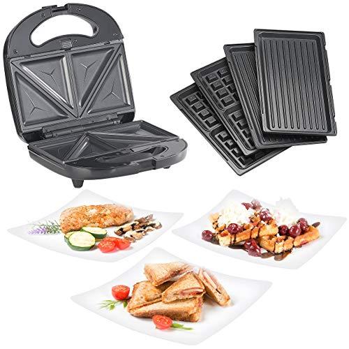 Rosenstein & Söhne Kontaktgrill: 3in1-Sandwichmaker, Waffeleisen & Tischgrill, Anti-Haft, 800 Watt Sandwich-Toaster