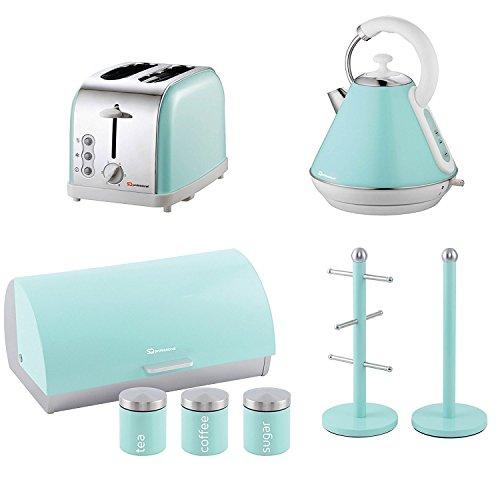 Mintgrün – Set aus Toaster, Wasserkocher, Brotkorb, 3 Aufbewahrungsdosen, Becherbaum und Küchenrollenhalter