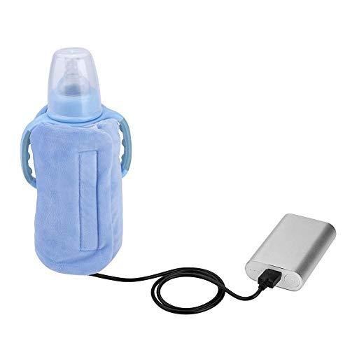 USB Flaschenwärmer Tasche, elektrische Warmhaltetasche Isoliertasche für Babyflaschen für Outdoor Reisen UnterwegsBlau