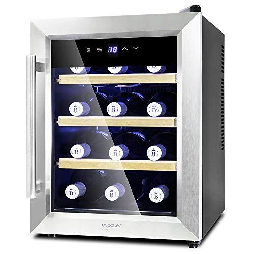 Cecotec Weinkühlschrank von 8-16 Flaschen. Tür aus Kristall- Design, Paneel Taktil und LED Bildschirm. 12, Holz