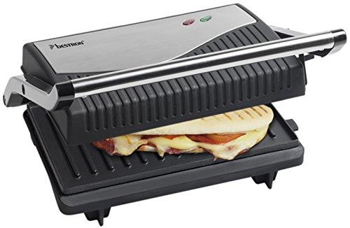 Bestron Ausklappbarer Sandwich-/Panini-Kontaktgrill mit Antihaftbeschichtung, 750 W, Schwarz