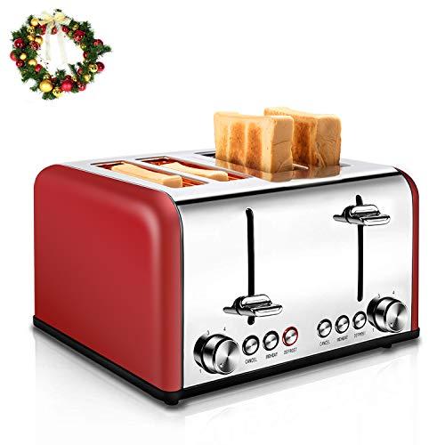 REDMOND Toaster 4 Scheiben 1650W Edelstahl Toaster mit 6 Bräunungsstufen, Brotzentrierung, Aufwärm/Auftau/Abbruch-Funktionen, Abnehmbarer Krümelschublade Rot