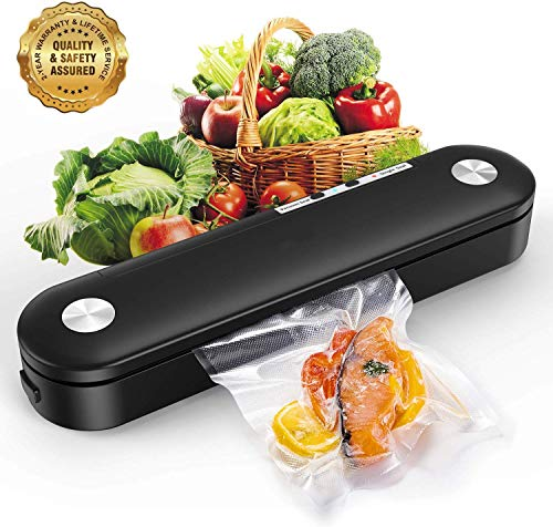 SAMEBOO Vakuumierer,Folienschweißgerät für Trockene Feuchte Lebensmittel Beiben Mini Automatische Vakuumiergerät vakuumiert bis zu 7x Länger Frisch Küche mit 10 Pcs Folienbeutel/Vakuumierbeutel
