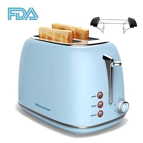 """Toaster 4 Scheiben, Morpilot Edelstahl Toaster 1600 Watt mit 1,5"""" breiten Schlitzen, 6 bräunungsstufen und 3 Moden Auftau-, Aufwärm- sowie Abschaltungsmode BLAU"""
