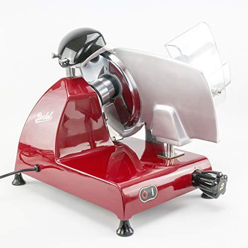 Berkel Red Line 250 Profi-Aufschnittmaschine/Allesschneider | Rot | mit integriertem Schleifapparat | Red Line 250 inkl. Fassholzbrett 34×21 cm