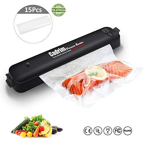 Cadrim Vakuummaschine Folienschweißgeräte automatisch vakuumieren für Lebensmittel, Fleisch, Gemüse, Obstaufbewahrung mit 15 Folienbeutel – Vakuumierer Vakuumiergerät