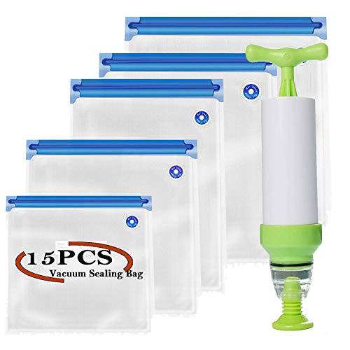Sous Vide Beutel-Set, V·RESOURCING 15 wiederverwendbare Vakuumbeutel, Vakuumbeutel 5 Größen mit Hand Mini-Vakuumierer, Ideal zum Einfrieren, Sous-Vide-Kochen, zur Lebensmittelkonservierung
