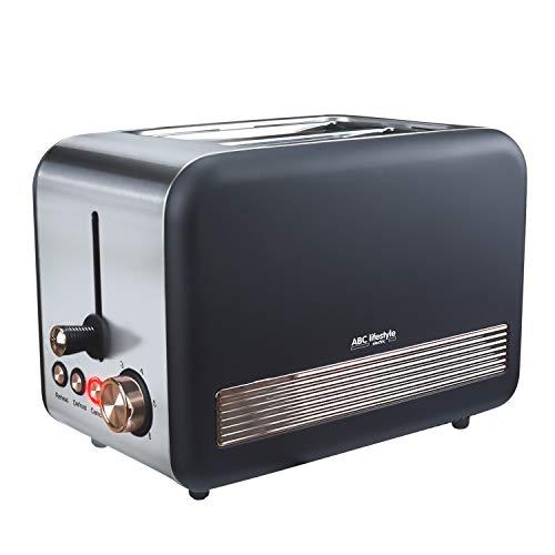 Retro-Design Toaster mit Krümelschublade, ABC Lifestyle Edelstahl 2-Slice-Slot Toaster, Auto-Pop-Up-Toaster, Abbrechen/Auftauen-Funktion, herausnehmbarer Brötchenwärmer, Schwarz