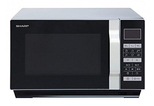 Sharp R760S 2-in-1 Flatbed Mikrowelle mit Grill / 23 L / 900 W / 1000 W Grill / 8 Automatikprogramme / LCD-Display / Timer / Gewicht- und zeitgesteuertes Auftauen / Kindersicherung / silber/schwarz
