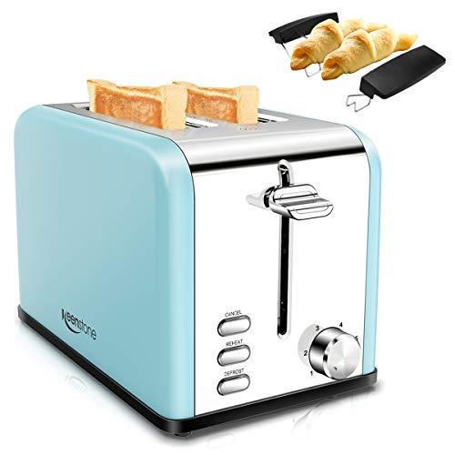 Toaster 2 Scheiben, Keenstone Toaster Edelstahl Brötchenaufsatz 1,5-Zoll-Schlitz, 825W Automatik-Toaster 6 Bräunungsstufen | Auftaufunktion | Aufwärmfunktion, Herausnehmbarer Krümelschublade, Blau