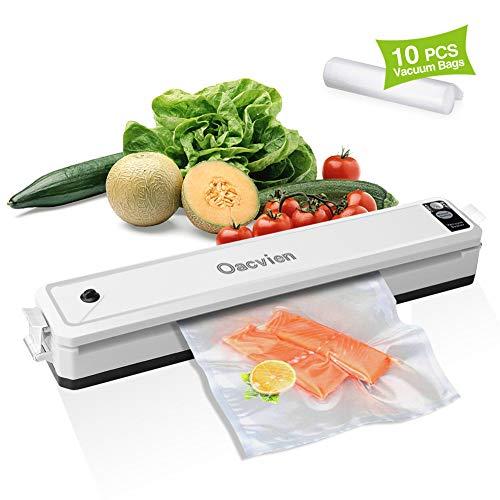 Vakuumiergerät Lebensmittel Folienschweißgerät, 2-in-1 Automatisch Vakuumierer mit 10 Profi Folienbeutel, Lebensmittel bleiben bis zu 7x länger frisch,30cm lange Schweißnaht