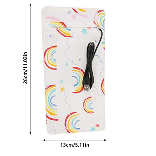 USB Babyflaschenwärmer Tragbare Cartoon Milchflasche Reise Heizungs Abdeckung Isolierungs Thermostat für ZuhauseRainbow-Pattern
