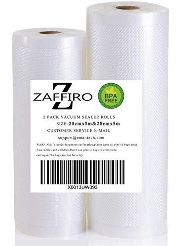 Z ZAFFIRO 2 Vakuumierfolie Rollen 20CMx5M + 28CMx5M Profi Vakuumierbeutel für Vakuumierer & Lebensmittel Vakuumiergerät, Kochfest und BPA-frei Sous Vide Beutel