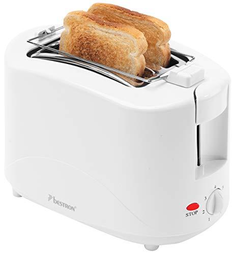 Bestron Toaster mit 2 Röstkammern, Inkl. Krümelschublade und Brötchen-Röstaufsatz, 750 Watt, Weiß
