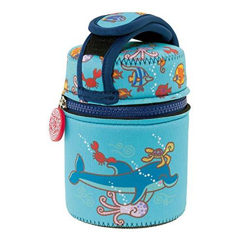 Edelstahl Thermoessensbehälter 0,5 Liter mit buntem Cover Dophin und Schlaufe zum Befestigen